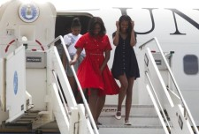 Look for Less: First Lady Michelle Obama's Marco Polo Airport Michael Kors Collection Transeason 2015 Crimson Cotton Poplin Dress