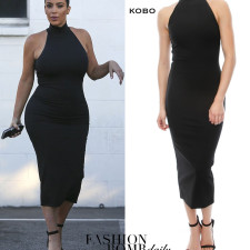 Splurge: Kim Kardashian West's Van Nuys Ronny Kobo Black Mock Neck Thiadora Midi Dress