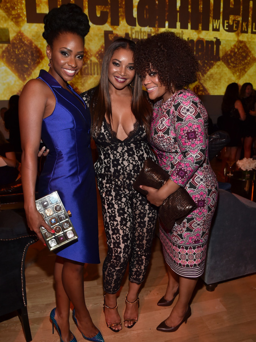 2Teyonah Parris's 2015 Entertainment Weekly Pre-Emmy Party John Paul Ataker Blue Button Dress, Kate Spade Clutch, and Lust for Life Pumps