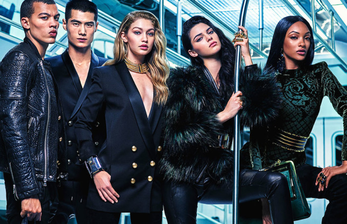 4 Kendall Jenner, Gigi Hadid and Jourdan Dunn by Mario Sorrenti for Balmain x H&M's Print Campaign
