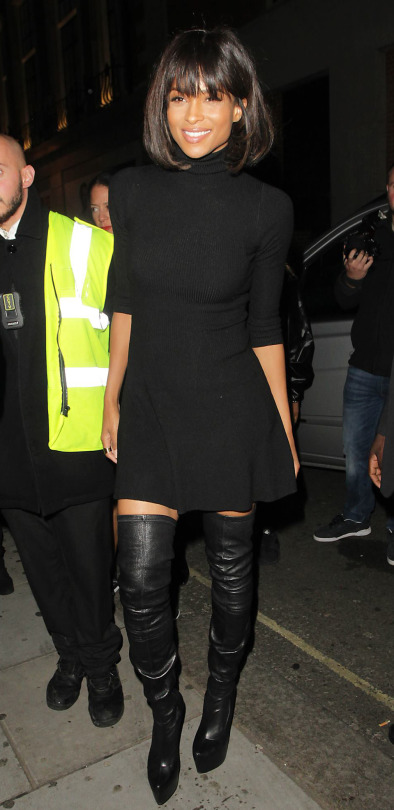 Ciara's London Libertine Club Topshop Black Mock Neck Sweater Dress and Christian Louboutin Thigh High Boots