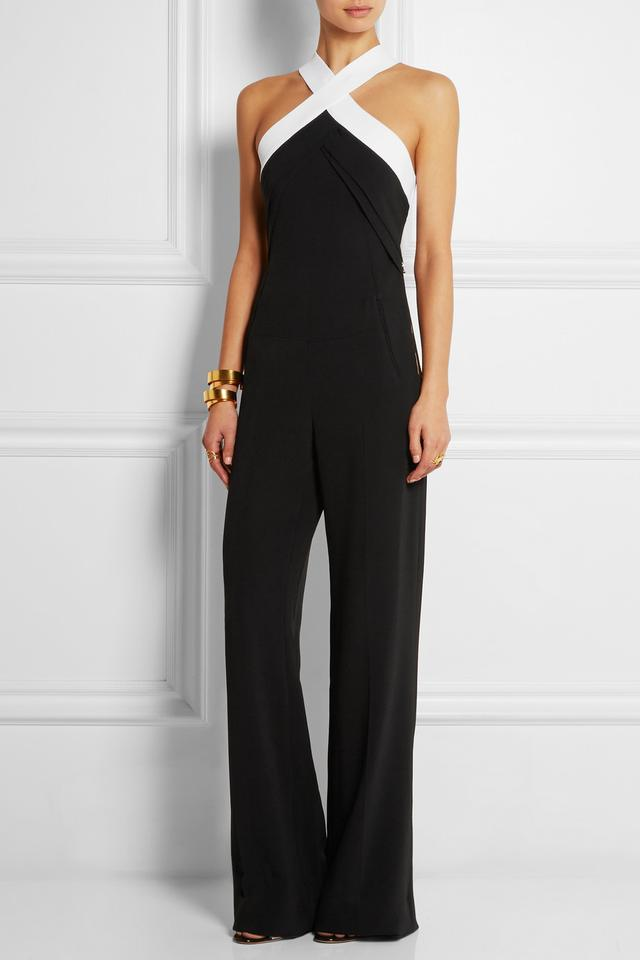 Roland Mouret's Resort 2015 Shotwick Two Tone Black and White Halter Jumpsuit roland-mouret-shotwick-two-tone-jumpsuit