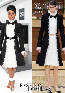 Hot! or Hmm…: Janelle Monae's Chanel Spring 2016 Show Chanel Fall 2015 Black and White Dress and Oscar Tiye Yumna Colorblcok White Sandals