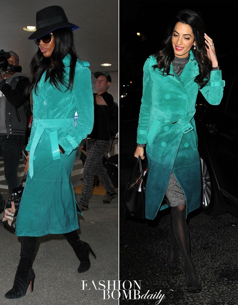 Who Wore It Better  Amal Clooney vs. Naomi Campbell in Burberry s Green  Ombre Suede Trench 046ec504e