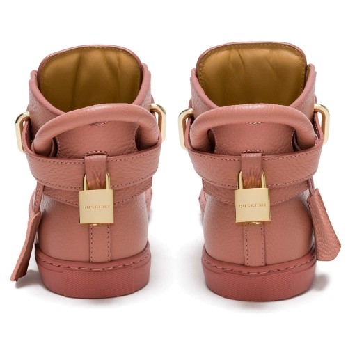 4-Buscemi Gold Tone Clasp Detail Bubble Gum Pink Lace Up Sneakers