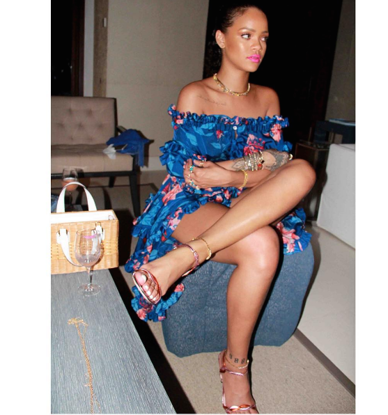 10 Rihanna's Instagram Turks & Caicos Faith Connexion Blue Floral Print Off The Shoulder Ruffle Trim Short Sleeve Dress And Gucci Metallic Pink And Red Leather Sandals