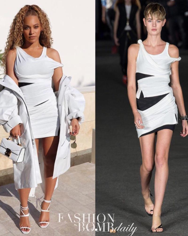 Beyoncé Wears An Alexander Wang Dress, Calvin Klein Jacket, YSL Pumps, and More to NBA Finals ...