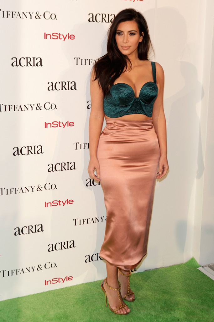 0 Kim Kardashian's Acria 19th Annual 'Holiday Dinner' Benefit Ulyana Sergeenko Spring 2014 Couture Teal Blue Hand Quilted Satin Bustier and Dusty Pink Satin Draped Skirt