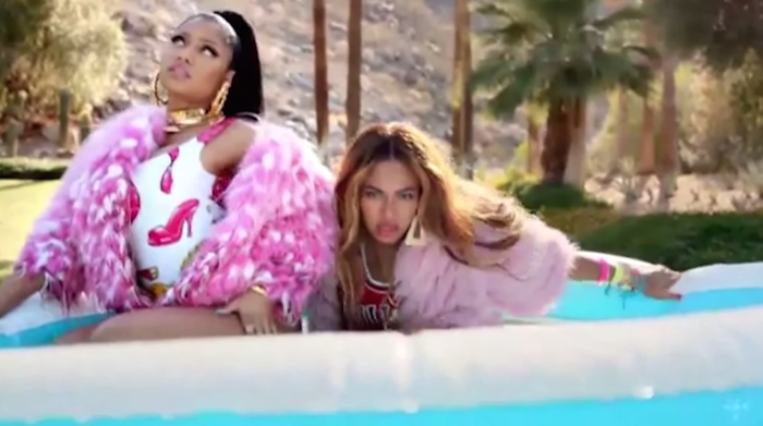 Beyonce and Nicki Minaj wear Phillip Plein, Givenchy, Moschino, and More in the Feeling Myself Video