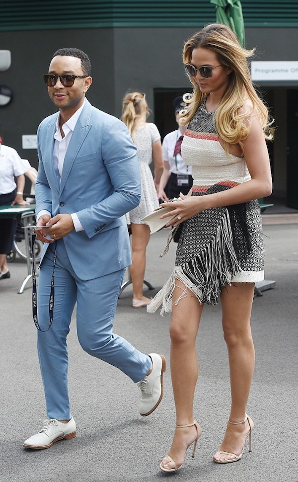 John Legend and Chrissy Teigen arrived at Wimbledon in stylish ensembles.