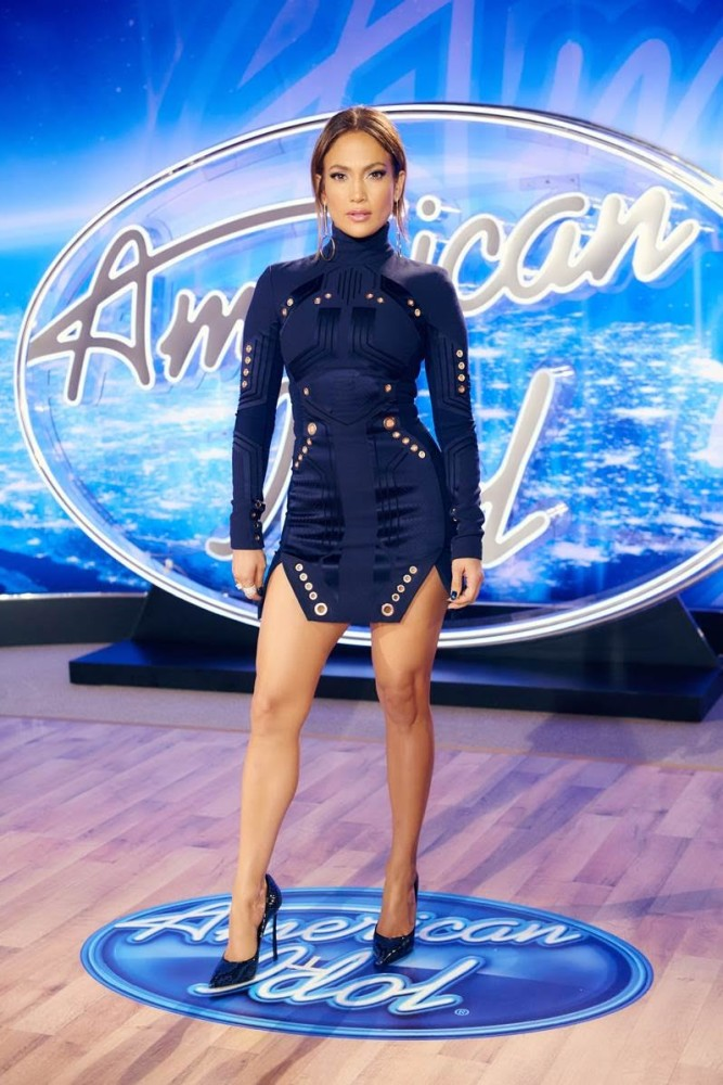 2 Jennifer Lopez wears Thierry Mugler Fall 2015 Navy Embellished Dress and Casadei Heels to American Idol's Philadelphia Auditions