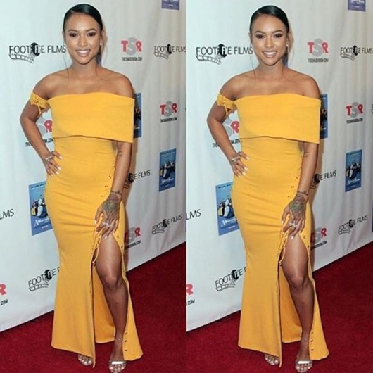 Splurge-Karrueche-Tran-A-Meeting-with-the-Family-Premiere-Zeena-Zaki-Golden-Off-the-Shoulder-Dress-with-Lace-Up-Detailing-2
