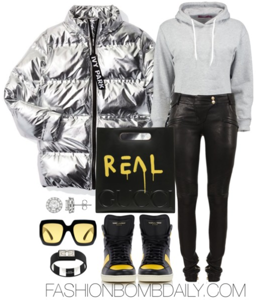 winter-2017-style-inspiration-4-ways-to-wear-a-puffer-jacket-ivy-park-metallic-puffer-coat-balmain-leather-biker-pants-guccighost-leather-tote-saint-laurent-high-top-sneakers