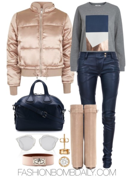 winter-2017-style-inspiration-4-ways-to-wear-a-puffer-jacket-topshop-satin-puffer-jacket-balmain-leather-biker-pants-givenchy-shark-lock-wedge-boots-givenchy-nightingale-tote