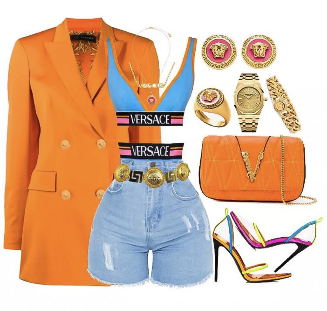 Outfit_Inspiration_Versace_Orange_Blazer_Pretty_Little_Thing_Denim_Shorts_and_Jessica_Rich_Neon_Shoes